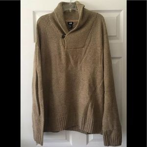 H&M Mens Sweater Pull Over Tan Brown Wool Blend XL